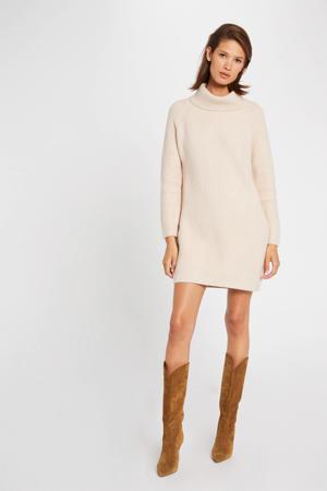 gemêleerde ribgebreide jurk lichtroze