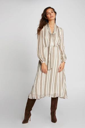 semi-transparante jurk met all over print en plooien vanille