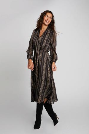 semi-transparante jurk met all over print en plooien zwart