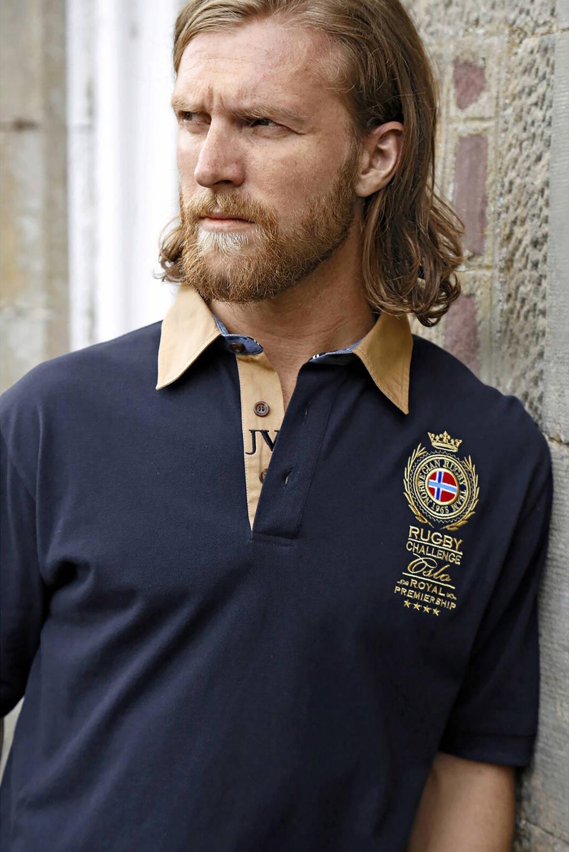 Jan Vanderstorm oversized fit polo Plus Size Joakim met printopdruk donkerblauw, Donkerblauw