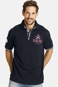Jan Vanderstorm oversized fit polo Plus Size Rujar met contrastbies donkerblauw, Donkerblauw