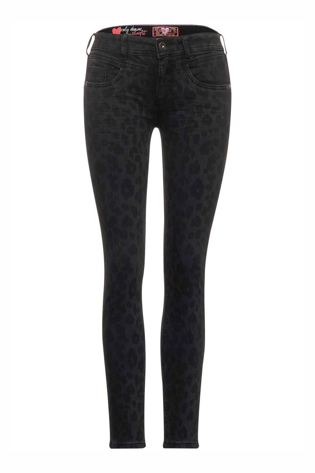 Street One skinny broek York met panterprint antraciet/zwart, Antraciet/zwart