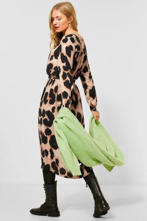 jurk met dierenprint en ceintuur beige/zwart
