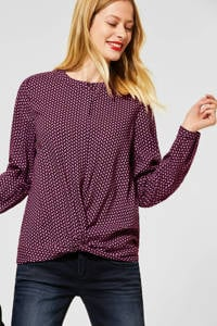 Street One top met all over print donkerrood/roze, Donkerrood/roze
