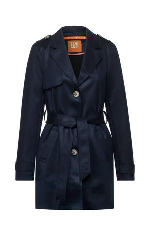 coat met ceintuur blauw