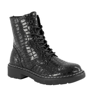 veterboots crocoprint zwart