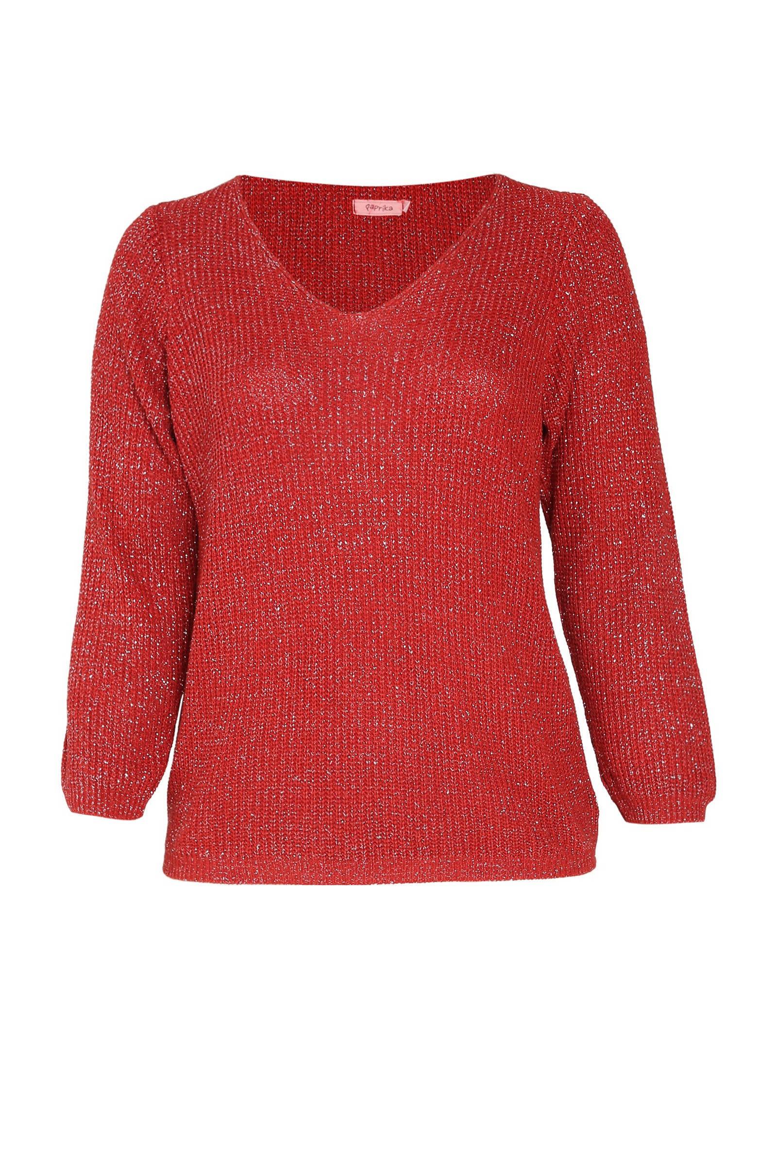 Paprika gebreide trui met glitters roodzilver | wehkamp