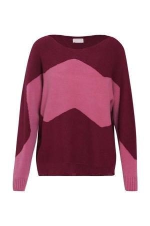gebreide trui met grafische print donkerrood/roze