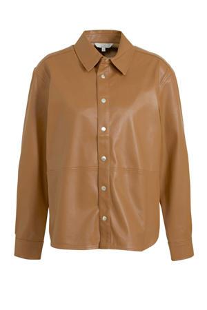 coated blouse cognac