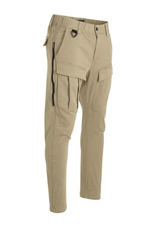slim fit cargobroek taupe