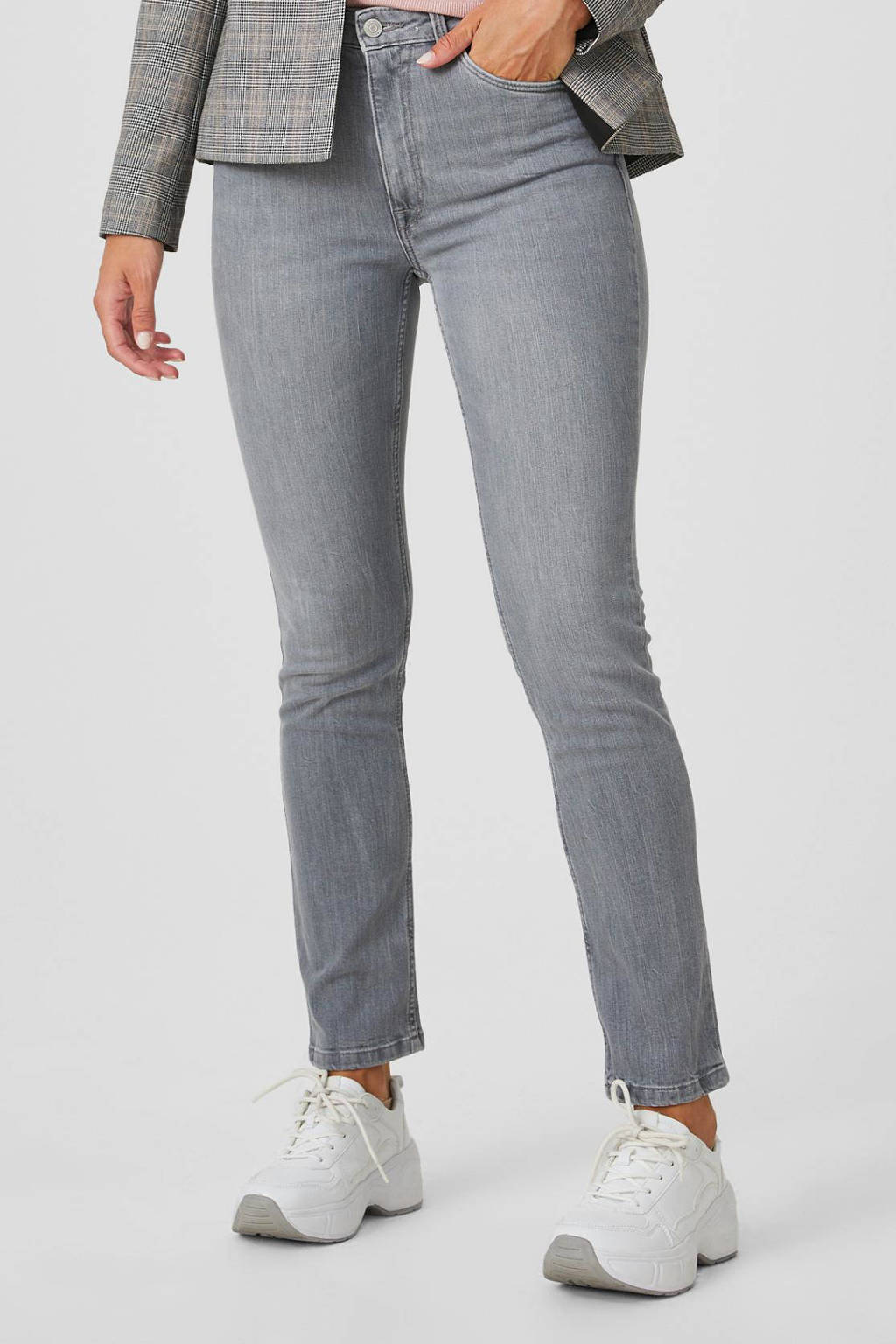 C&A The Denim high waist slim fit jeans lichtgrijs stonewashed, Lichtgrijs stonewashed