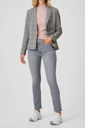high waist slim fit jeans lichtgrijs stonewashed