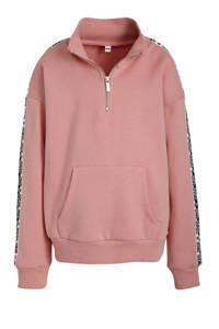 C&A Here & There sweater met contrastbies roze/zwart/wit, Roze/zwart/wit