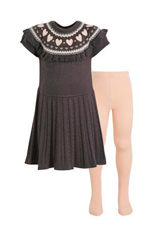 gebreide jurk met maillot antraciet/roze