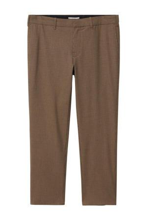 geruite slim fit pantalon beige