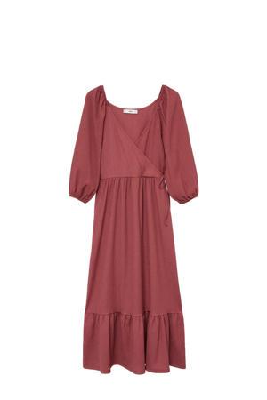 maxi jurk met volant donkerrood