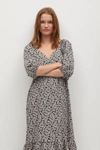 Mango maxi jurk met all over print en volant zwart/ecru, Zwart/ecru
