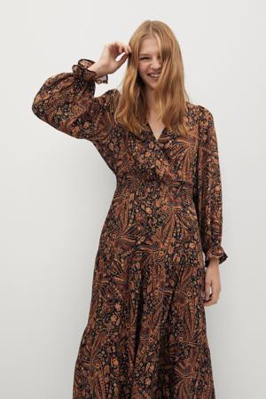 maxi jurk met paisleyprint en ruches bruin