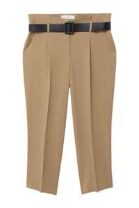 Violeta by Mango cropped tapered fit broek beige, Beige