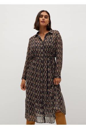 semi-transparante blousejurk met all over print en ceintuur donkerblauw/ bruin