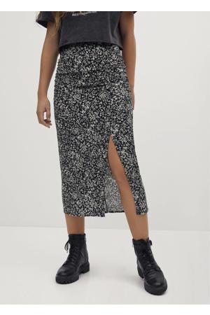 gebloemde rok zwart/wit