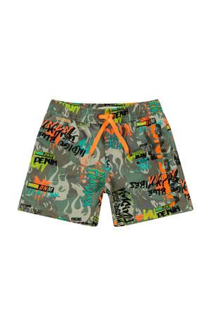 zwemshort Xanto met all over print groen/grijs/oranje