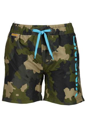 zwemshort Xanto met camouflageprint groen/blauw