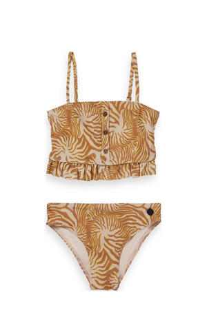 crop bikini met ruches en all over print okergeel
