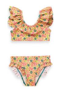 Scotch & Soda gebloemde bikini met ruches geel/roze/groen, Geel/roze/groen