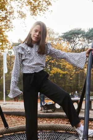 high waist loose fit broek Mesdi zwart