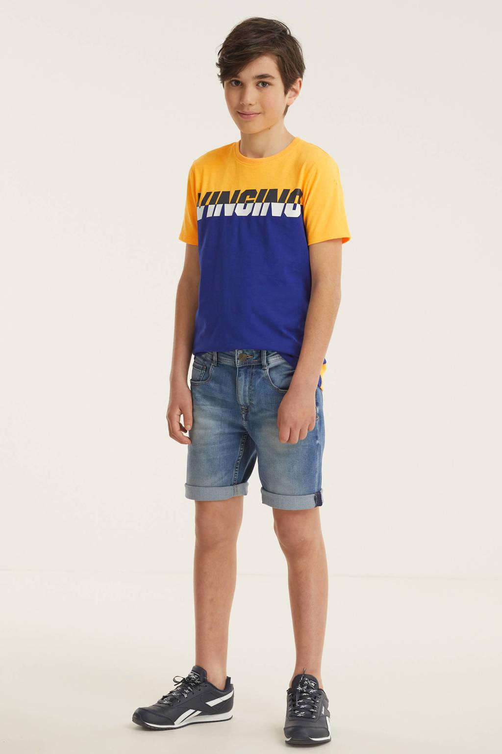 Vingino T-shirt Hewy met logo geel/blauw, Geel/blauw