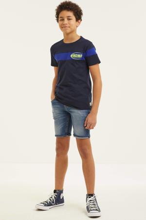 T-shirt Halosi met logo donkerblauw/blauw