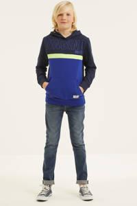 Vingino hoodie Nifaso met logo donkerblauw/blauw/geel, Donkerblauw/blauw/geel
