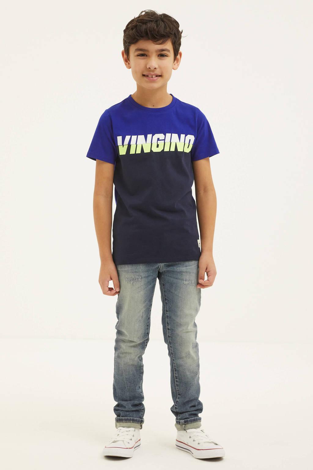 Vingino T-shirt Hewy met logo donkerblauw/blauw/wit, Blauw/donkerblauw/wit