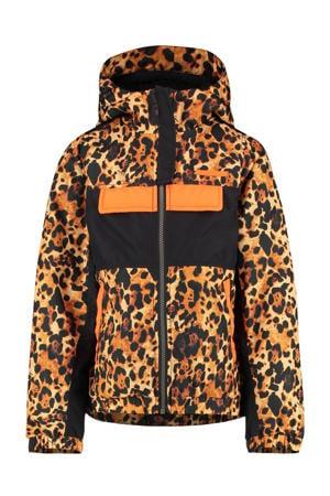 zomerjas Tanique met panterprint bruin/zwart/oranje