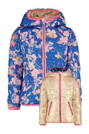 reversible zomerjas Taylin met all over print goud/hardblauw/roze