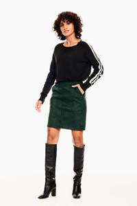 Garcia trui met contrastbies zwart, Zwart
