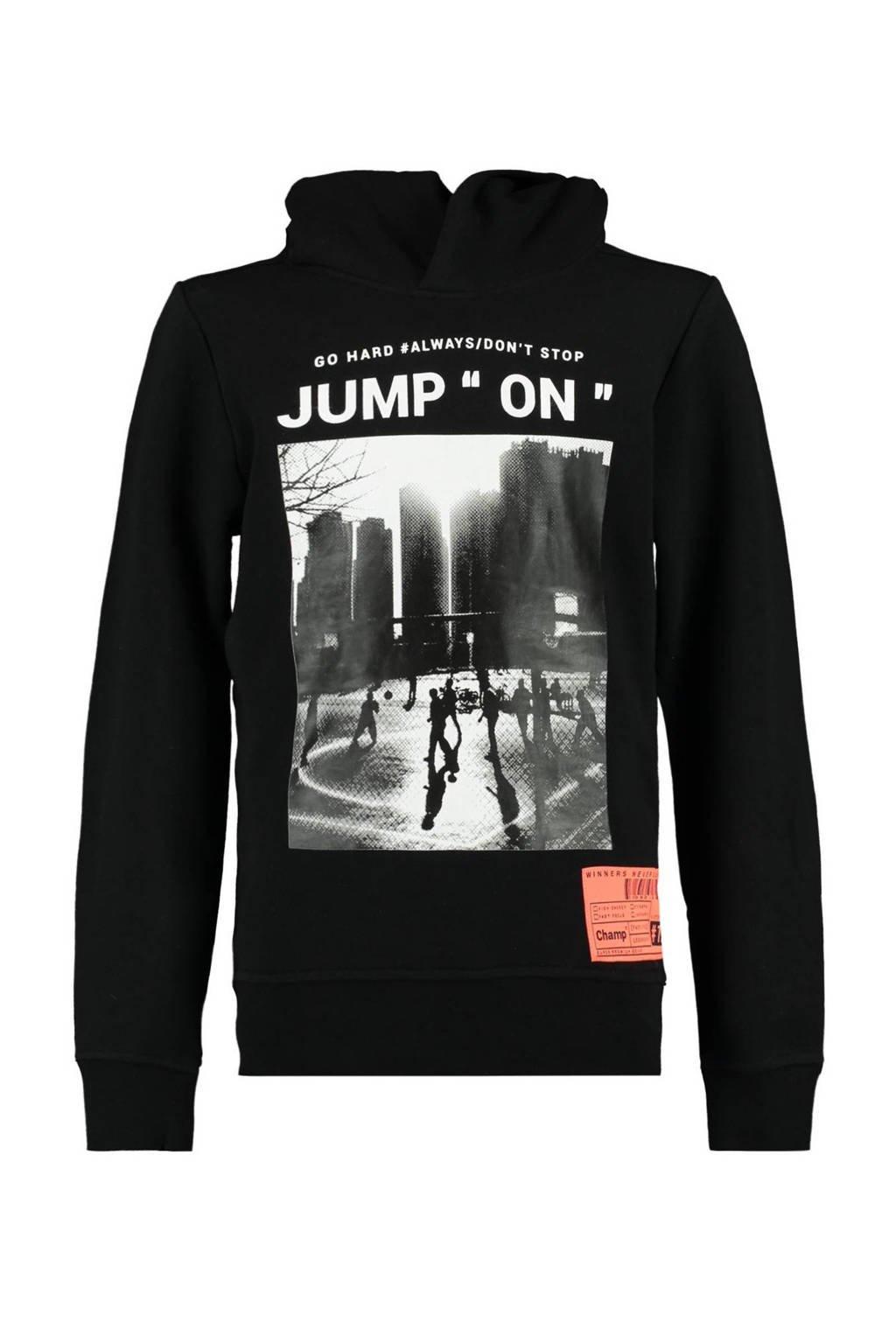 CoolCat Junior hoodie Sep met printopdruk zwart, Zwart