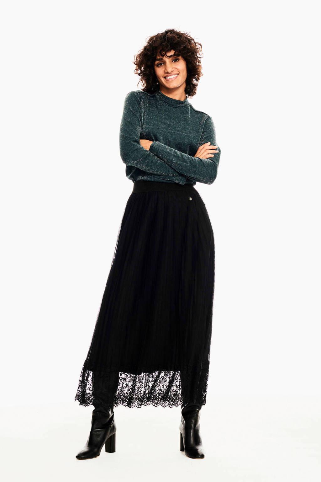 Garcia semi-transparante rok met kant zwart, Zwart