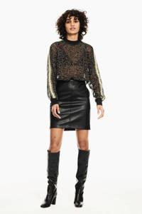 Garcia imitatieleren rok zwart, Zwart