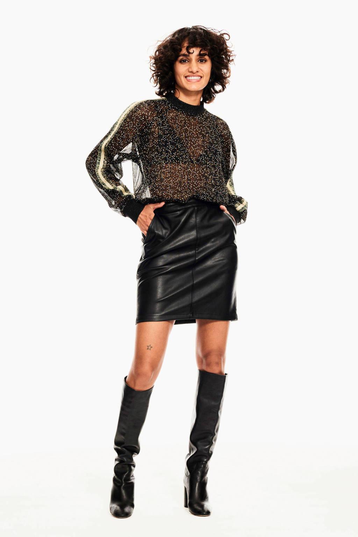 Garcia semi-transparante top met contrastbies en glitters zwart/multi, Zwart/multi