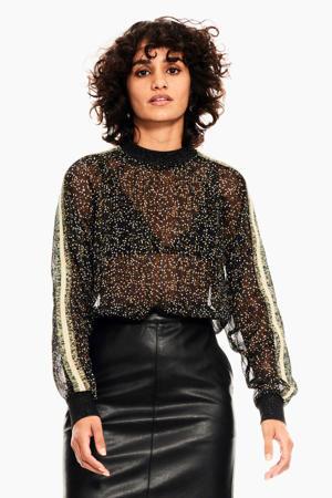 semi-transparante top met contrastbies en glitters zwart/multi