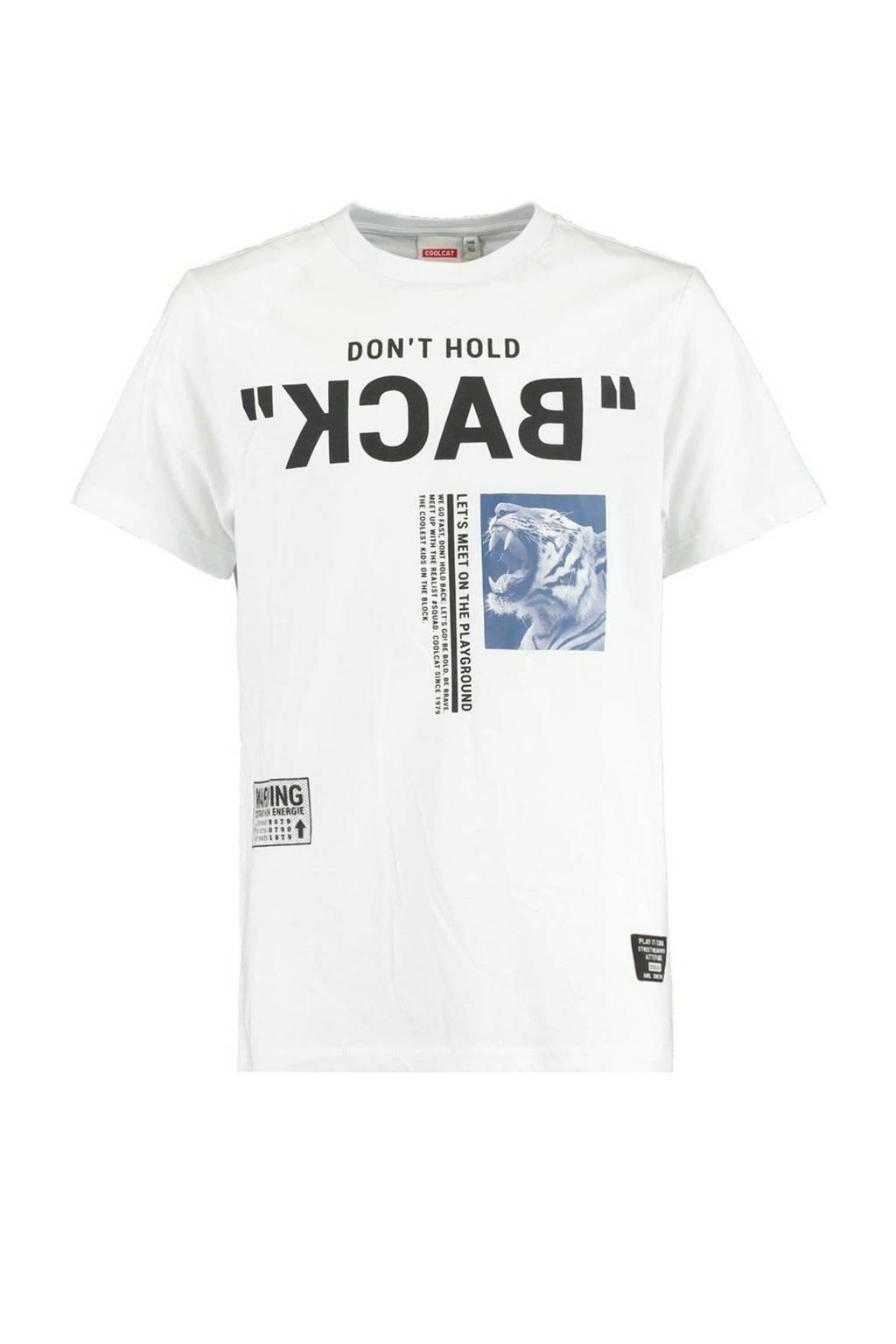 CoolCat Junior T-shirt Erik met tekst wit/zwart, Wit/zwart