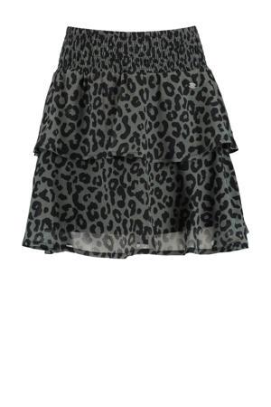 rok met panterprint donkergroen/zwart