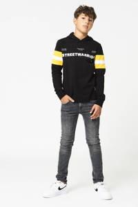 CoolCat Junior longsleeve Luka met tekst zwart/wit/geel, Zwart/wit/geel