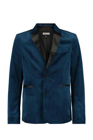 velours colbert met split blauw/zwart
