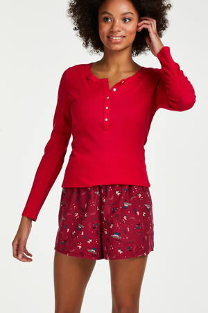 pyjamashort met all over print rood