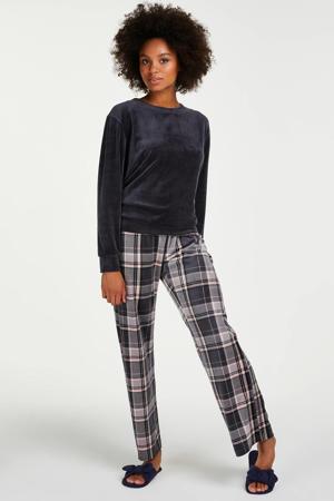 velours pyjama met ruit donkergrijs