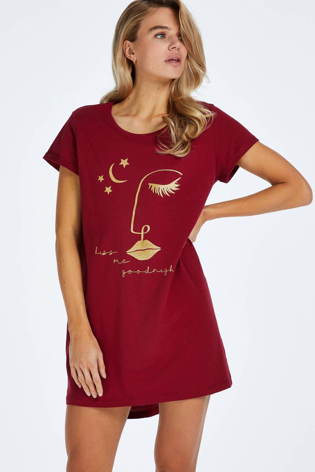 Hunkemöller nachthemd met printopdruk donkerrood, Donkerrood