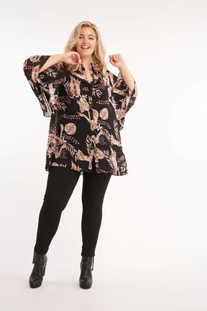 semi-transparante blouse met all over print en vleermuismouwen zwart/donkerrood/ecru